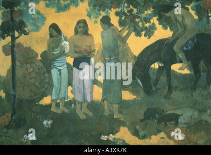 'fine arts, Gauguin, Paul, (1848 - 1903), painting, 'Rupe Rupe', ('the fruit pickers'), 1899, oil on canvas, 130 - Stock Photo
