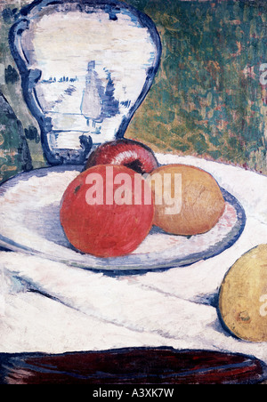 'fine arts, Gauguin, Paul, (1848 - 1903), painting, 'still life', private property, Munich, historic, historical, - Stock Photo