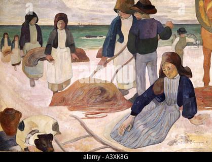 'fine arts, Gauguin, Paul, (1848 - 1903), painting, 'Breton seaweed collectors', 1889, Folkwang Museum, Essen, historic, - Stock Photo
