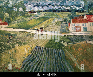 'fine arts, Gogh, Vincent van, (1853 - 1890), painting, 'landscape with horse carriage and train in background', - Stock Photo