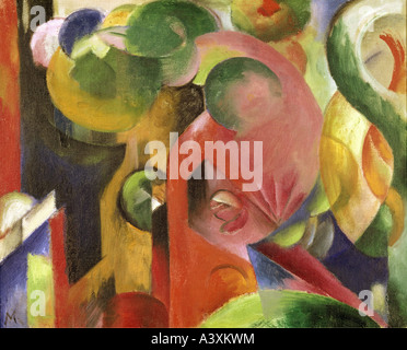 'fine arts, Marc, Franz, (1880 - 1916), painting, 'Kleine Komposition III', ('small composition III'), 1913 - 1914, - Stock Photo