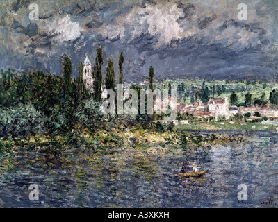 'fine arts, Monet, Claude, (1840 - 1926), 'landscape and thunderstorm', oil on canvas, Folkwang museum, Essen, landscape, - Stock Photo