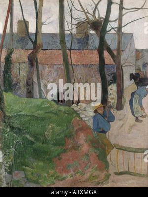 'fine arts, Gauguin, Paul, (1848 - 1903), painting, 'houses at Le Pouldu', 1890, oil on canvas, 92 cm x 72 cm, State - Stock Photo