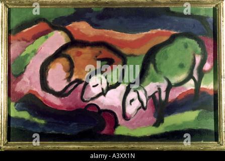 'fine arts, Marc, Franz, (1880 - 1916), painting, 'Schafe', 'sheep', 1912, oil on canvas, 49,5 cm x 77 cm, Saarland - Stock Photo