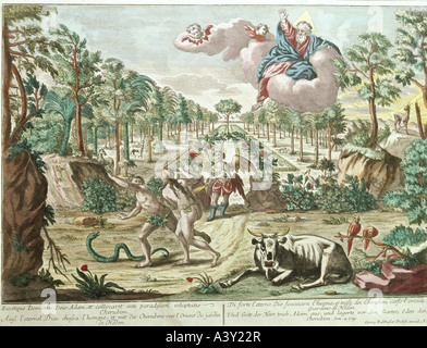 fine arts, religious art, Adam and Eve, expulsion from paradise, engraving, coloured, raree show picture, Augsburg, - Stock Photo