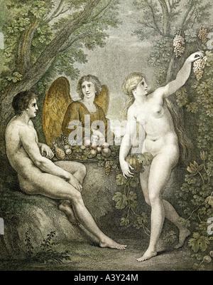 'fine arts, religious art, 'Adam and Eve entertaining archangel Gabriel', engraving with aquatint, by Francesco - Stock Photo