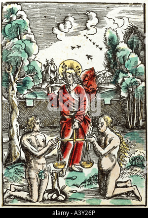 'fine arts, religious art, Adam and Eve, saviour with golden scales, woodcut, coloured, by Hans Schäufelein, illustration - Stock Photo