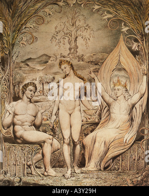 'fine arts, religious art, Adam and Eve, 'archangel Raphael warning Adam and Eve of the fruits from the tree of - Stock Photo
