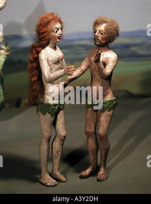 fine arts, religious art, Adam and Eve, sculpture, from nativity scene from Isareck-Volkmannsdorf near Freising, - Stock Photo