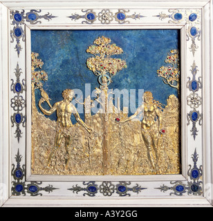 fine arts, religious art, Adam and Eve, relief, circa 1550, gold, Nuremberg, frame ivory, lapis lazuli, residence - Stock Photo