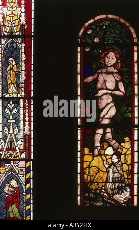 'fine arts, religious art, Adam and Eve, left 'paradise window', right 'Saint Mary window', glass painting, by Peter - Stock Photo