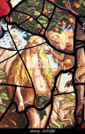 'fine arts, religious art, Adam and Eve, 'Eve with apple under the tree', glass painting, detail, Zürich master, - Stock Photo