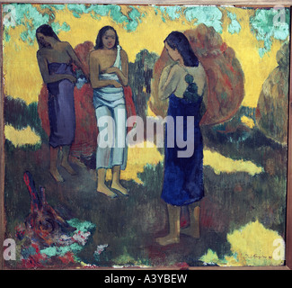 'fine arts, Gauguin, Paul, (1848 - 1903), 'girls from Tahiti', 1899, oil on canvas, Eremitage, St. Petersburg, historic, - Stock Photo