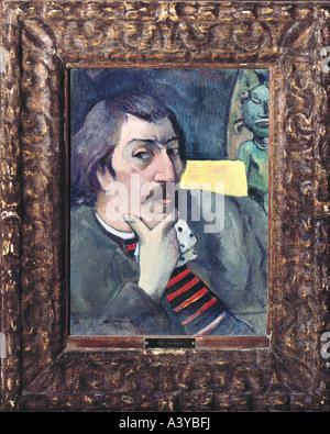 'fine arts, Gauguin, Paul, (1848 - 1903), painting, 'self portrait with idol', 1891, oil on canvas, Marion Koogler - Stock Photo