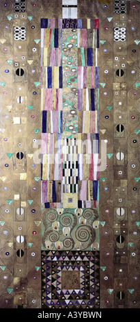 'fine arts, Klimt, Gustav, (1862 - 1918), painting, 'decorative panel', circa 1905 / 1909, different material on - Stock Photo