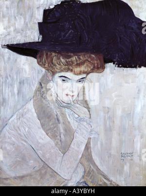 'fine arts, Klimt, Gustav, (1862 - 1918), painting, 'Der schwarze Federhut', ('the black feather hat'), 1910, oil - Stock Photo