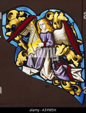 'fine arts, religious art, angels, 'angel making music with portative organ', glass painting, Northern Switzerland, - Stock Photo