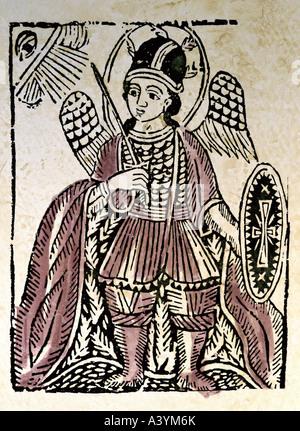 fine arts, religious art, angels, archangel Michael, graphics, Poland, first half 19th century, colour woodcut, - Stock Photo