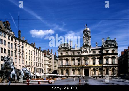 Hotel de Ville and Fountain Place des Terreaux Presqu ile Lyon Rhone Valley France - Stock Photo
