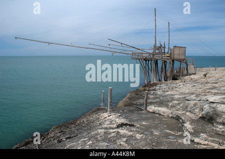 Trabucco, ancient fishing structure, Puglia - Italy. - Stock Photo