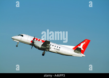 London City Airport OLT aircraft taking off - Stock Photo