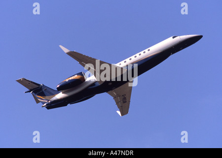 Embraer Legacy 600 operated by London Executive Aviation departing Luton Airport, UK - Stock Photo