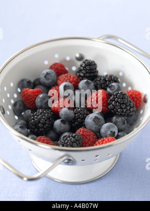 Fresh Berries in Colander - Stock Photo