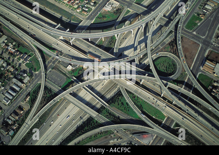 Aerial view of Los Angeles freeways 110 and 105 mixing together - Stock Photo
