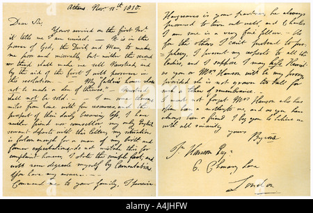 Letter from Lord Byron to John Hanson 11th November 1810  - Stock Photo