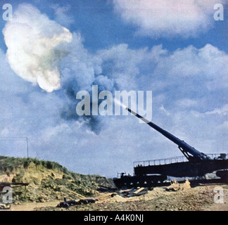 A second after the command to fire French Channel coast World War II 1940  - Stock Photo