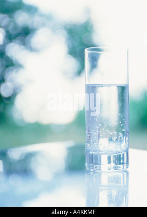 Glass of water on table - Stock Photo