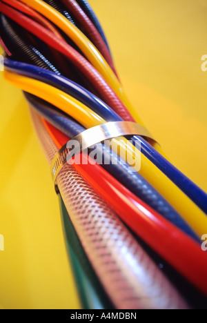 COLORFUL BUNDLE OF CABLES & WIRES - Stock Photo