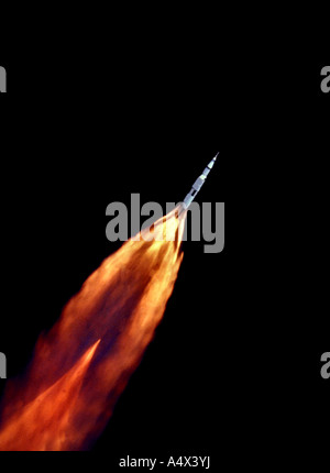 The Apollo 11 Saturn V space vehicle climbs toward orbit after liftoff Heading to the moon Enhanced version of NASA - Stock Photo