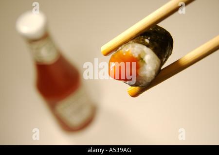 Fusion Food: SUSHI & KETCHUP - Stock Photo