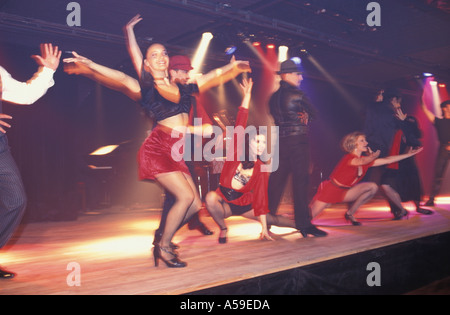 Tango dancers performing on stage in Buenos Aires Argentina - Stock Photo