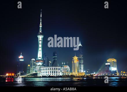 Pudong at night, Shanghai, China - Stock Photo