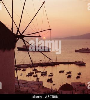 Mykonos Harbour, Greek Islands, Cyclades, Greece Aegean - Stock Photo