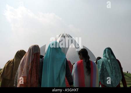 women in front of Bahai House of Worship, India, Delhi - Stock Photo