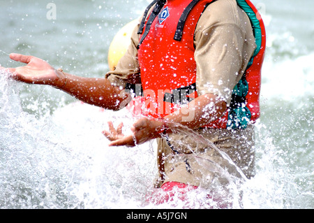 British young sailor enjoying being in the sea UK - Stock Photo
