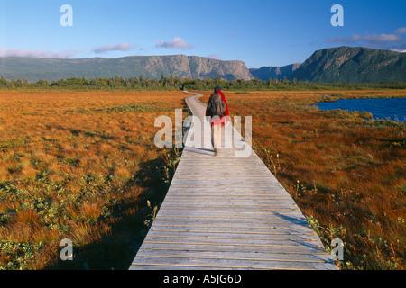Wanderer auf der Promenade zum Western Brook Pond Fjord Gros Morne National Park Neufundland Kanada - Stockfoto