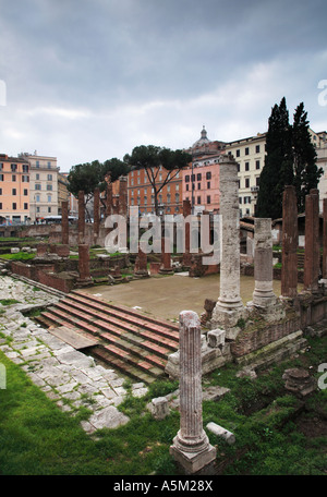 Largo di Torre Argentina ruins of four Republican Roman Temples Rome Italy - Stock Photo