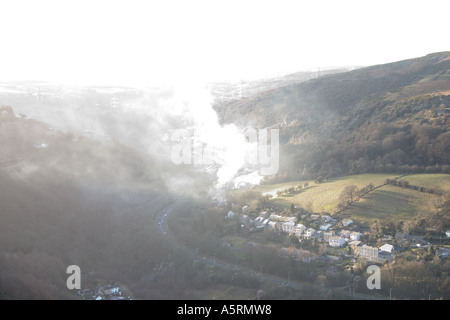 Smoke pollution in the Clydach Gorge, SE Wales - Stock Photo