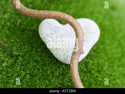 Smooth branch and heart shaped stone on moss - Stock Photo