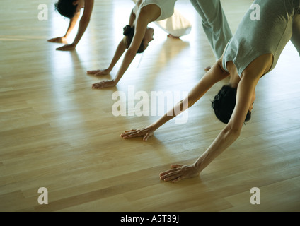 Yoga class in downward facing dog pose - Stock Photo