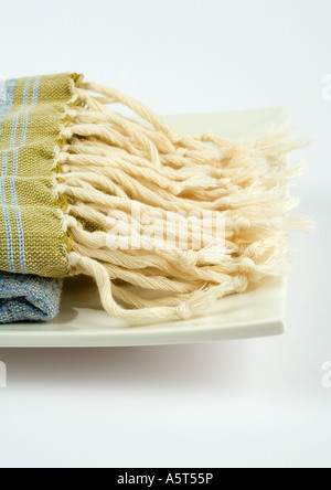 Fringe of towel, close-up - Stock Photo