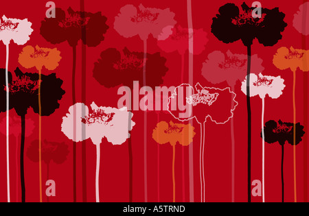 Graphic flower patterned illustration. - Stock Photo