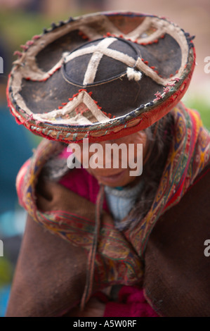 Peruvian Quechuan Woman Wearing Traditional Hat Or Montera And Shawl Stock Photo