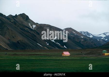 bivouacing at ryolith mountains area of landmannalaugar nature reserve park of fjallabak iceland - Stock Photo