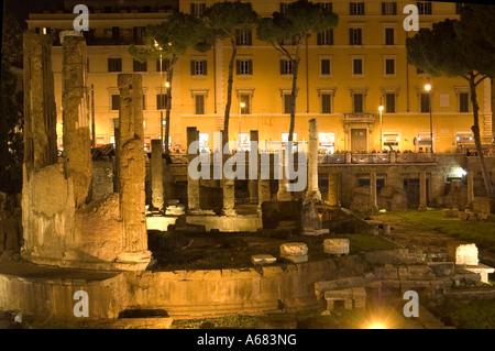Ruins of Area sacra di largo Roman temple in Largo di Torre Argentina Square or Piazza Argentina, Rome Italy - Stock Photo