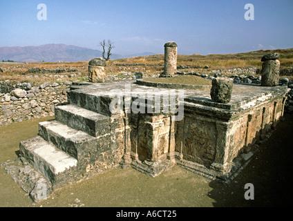 Pakistan Western Punjab Taxila archaeological site Sirkap shrine of double headed eagle - Stock Photo